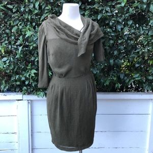 NWT! Anthropologie Olive Green Short Classic Dress